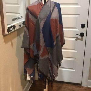 Blanket style soft poncho Cape